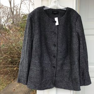 NWT Talbots Gray Shimmer Boiled Wool Lined Blazed